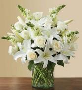 white  sympathy vase white flowers in cylinder vase