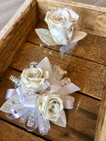 White Tie Event (Set) Forever Rose Corsage and Boutonniere Combo
