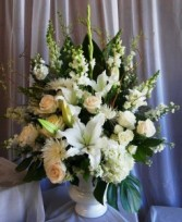 White Tribute Arrangement