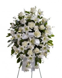 White Tribute Standing Spray SY179