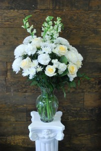 White Triumph Vased Sympathy Arrangement