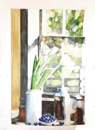 """White Tulips Watercolor on Strathmore 22"""" x 30"""""""
