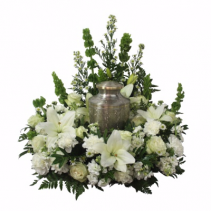 White Urn Wreath Cremation Flowers              ( Urn Not Included )