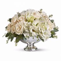 White Velvet Silver Bowl Centerpiece