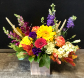 White Washed Box of Fall Style Upscale Flowers Arranged To Perfection