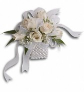 White Whisper Wristlet T200-4a White Spray roses with baby's breath