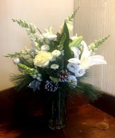White Winter vase arrangement