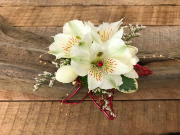 White with Red  Corsage