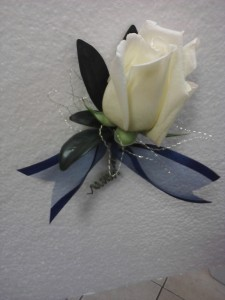 White with Ribbon boutoniere