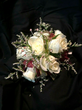 White with Rose Gold Corsage