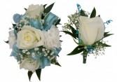 White W/light Blue Corsage / Boutonnieres