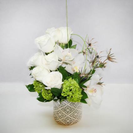 WHITE WONDER Roses & Orchids