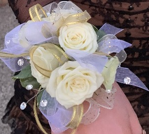 White Wrist corsage Prom, Dance, Homecoming
