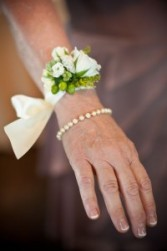 White Flower Wrist Corsage  with double satin ribbon tie