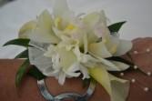 white wristlet corsage