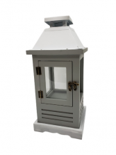 White/Gray Wooden Lantern w/ Metal Top