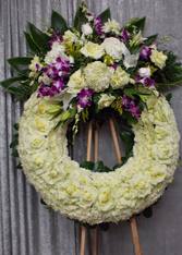 WHITE/PURPLE ORCHID CIRCLE OF LIFE WREATH STAND WREATH FOR A SERVICE/MEMORIAL