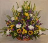 Wicker Basket with Sunflowers