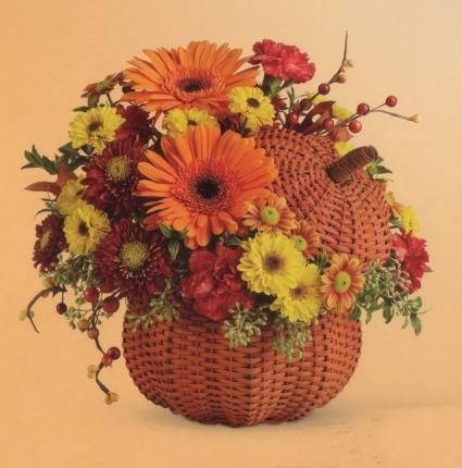 Wicker Pumpkin Bouquet Fall
