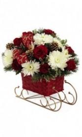 Wicker Sleigh Arrangement Christmas