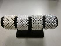 Wide Band Bracelets, Ivory, White, Opal, Silver,