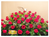 Wide Casket Spray with Red Roses Casket Spray