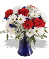 Wild About Red White and Blue  FHF 68-15 Vase Arrangement