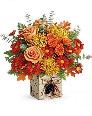 Wild Autumn Cube Floral Arrangement in Riverside, CA | Willow Branch Florist of Riverside