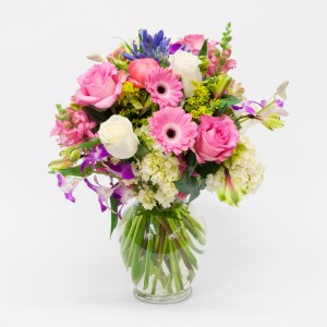 WILD FOR YOU DESIGNER CHOICE OF MIXED FLORAL ARRANGEMENT IN TALL VASE