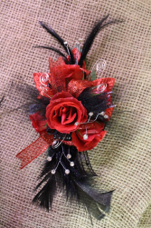 Wild Night Red and Black Corsage