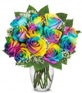 Wild Rainbow Roses Vase