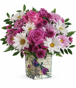Wildflower In Flight Premium Keepsake Cube in Warrington, PA | ANGEL ROSE FLORIST INC.
