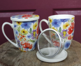 Wildflower Teacup Loose tea strainer and mug