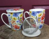 Wildflower Teacup Loose tea strainer and mug