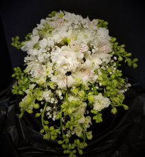 Wildflowers in White Cascade Bridal Bouquets