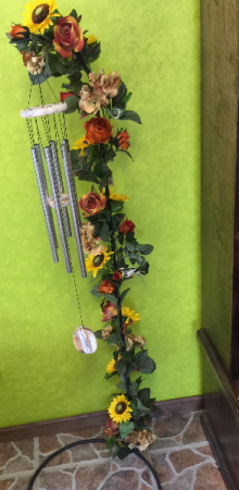 Wind Chime with Silk Flowers