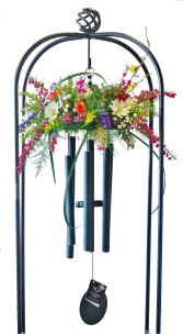WIND CHIMES If you purchase wind chimes for a memorial gift send them with this stand for display at the service. A variety of hand-tuned wind chimes (size & color) are available for purchase. Made in the U.S.A.