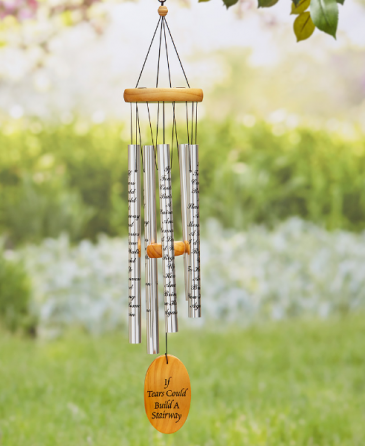 "Wind chimes with ""If Tears could build a   stairway"" saying or another  saying will be substituted if out of stock"
