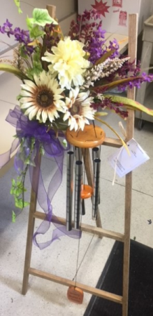 Windchimes on an easel Flowers will Vary - Display Only in Beech Grove, IN | THE ROSEBUD FLOWERS & GIFTS