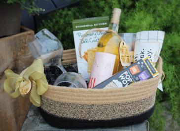 Wine, Cracker and Popcorn Gift Basket Gift Basket