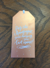 Wine tag- Pop the champagne changing your name