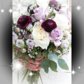 Wine/Lavendar/Blush Combo Brides Bouquet