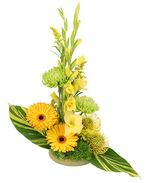 Wings of Gold Floral Arrangement in Ralston, NE | A FLOWER BASKET