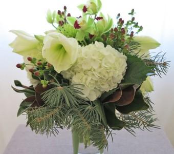 Winter all in White Vased Arrangement