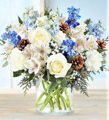 Winter Blessings Beautiful Blooms in Whites and Blues in Cylinder