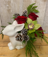 Winter Bunny Floral Arrangement in ceramic bunny