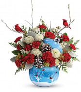Winter Cardinal Ornament Christmas Arrangement