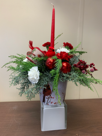 Winter Cardinals Centerpiece with candle