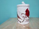 Winter Cardinals Cookie Jar