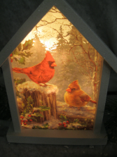 Winter Cardinals Lighted Birdhouse Gift
